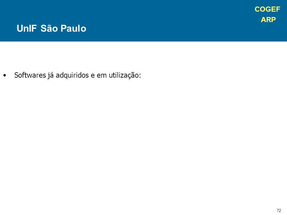 COGEF ARP 72 Softwares já adquiridos e em utilização: UnIF São Paulo