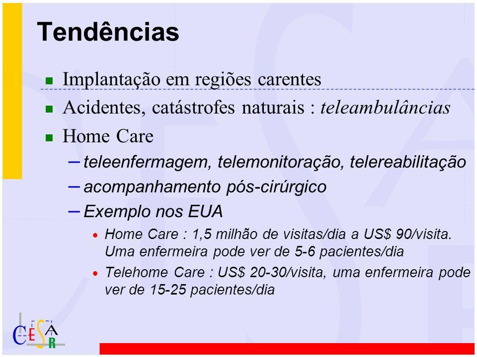 n Implantação em regiões carentes n Acidentes, catástrofes naturais : teleambulâncias n Home Care – teleenfermagem, telemonitoração, telereabilitação – acompanhamento pós-cirúrgico – Exemplo nos EUA  Home Care : 1,5 milhão de visitas/dia a US$ 90/visita.