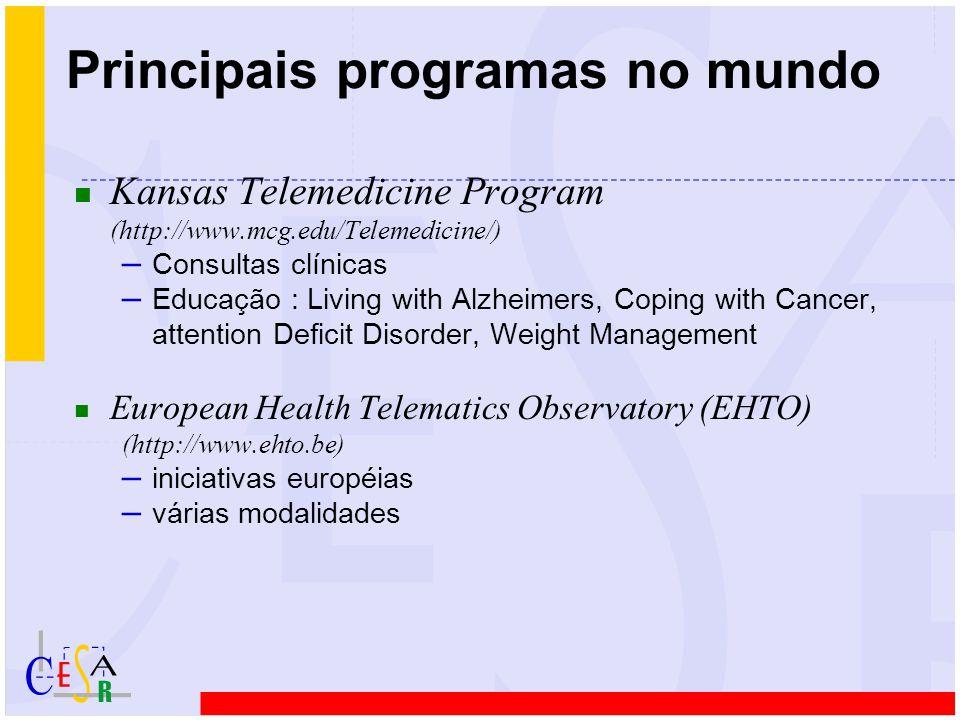 Principais programas no mundo n Kansas Telemedicine Program (http://www.mcg.edu/Telemedicine/) – Consultas clínicas – Educação : Living with Alzheimer