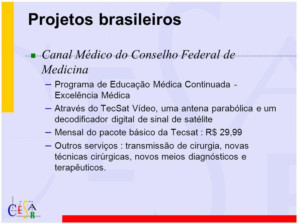 Projetos brasileiros n Rede Recife ATM (http://www.di.ufpe/~recifeatm) – Rede Metropolitana de alta velocidade (ATM, RDSI) – Aplicações de operação e gerenciamento de redes, educação à distância, geoprocessamento e telemedicina – Telemedicina  educação continuada e telediagnóstico  áreas piloto : oftalmologia, pediatria, doenças tropicais  LIKA, Hospital das Clínicas, Hospital Português, Hospital do Agreste (caruaru)