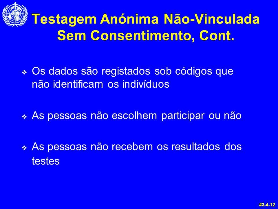 Testagem Anónima Não-Vinculada Sem Consentimento, Cont.  Os dados são registados sob códigos que não identificam os indivíduos  As pessoas não escol
