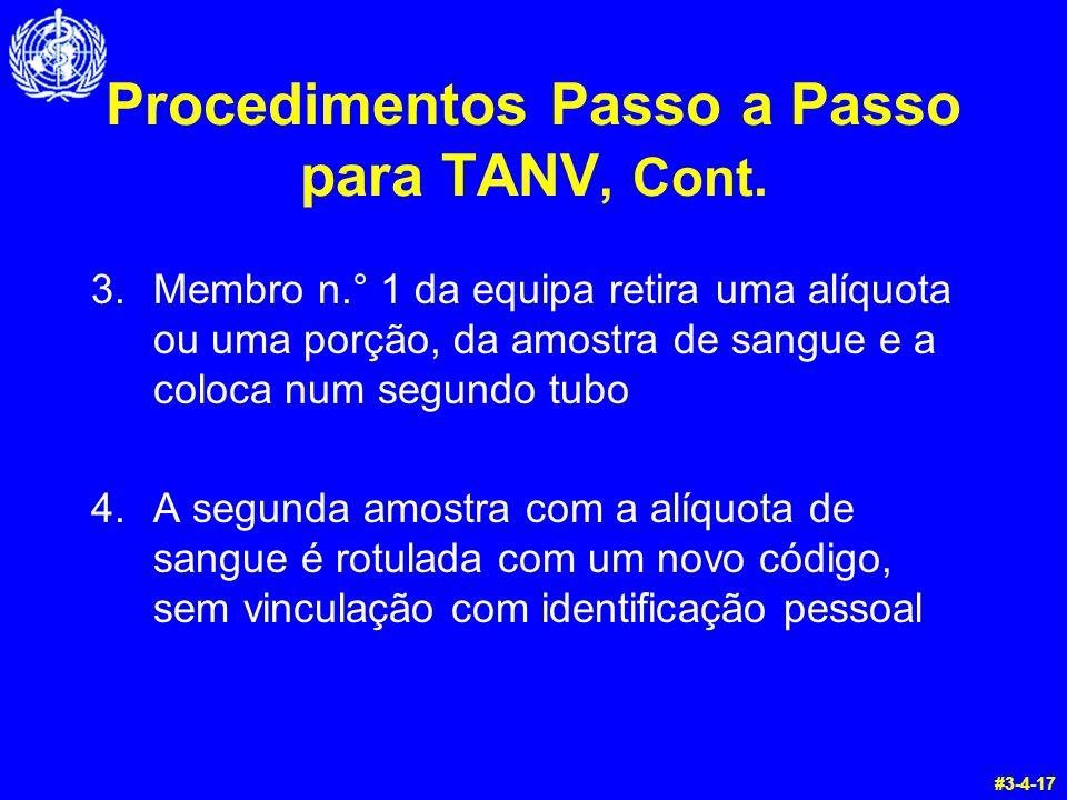 Procedimentos Passo a Passo para TANV, Cont. 3.Membro n.° 1 da equipa retira uma alíquota ou uma porção, da amostra de sangue e a coloca num segundo t