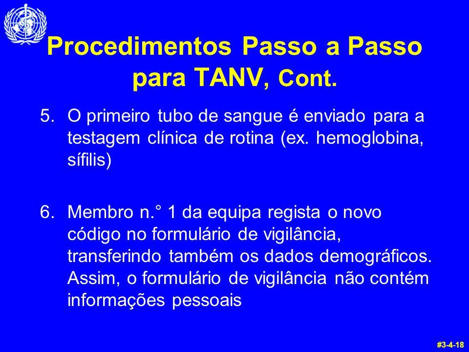 Procedimentos Passo a Passo para TANV, Cont. 5.O primeiro tubo de sangue é enviado para a testagem clínica de rotina (ex. hemoglobina, sífilis) 6.Memb