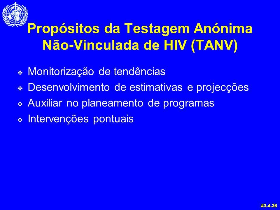 Propósitos da Testagem Anónima Não-Vinculada de HIV (TANV)  Monitorização de tendências  Desenvolvimento de estimativas e projecções  Auxiliar no p