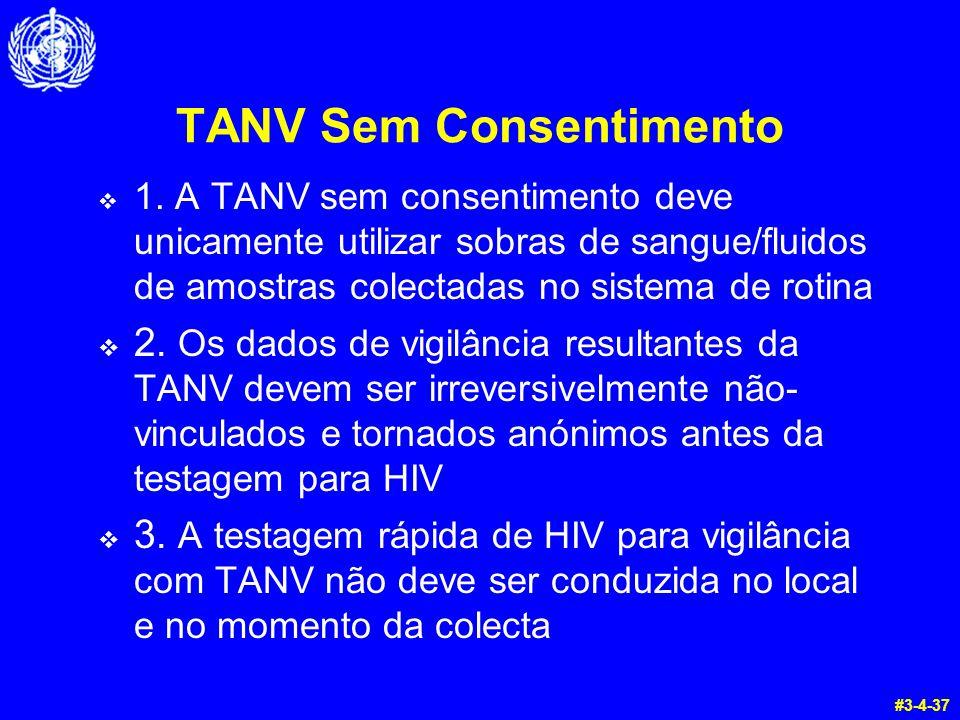 TANV Sem Consentimento  1. A TANV sem consentimento deve unicamente utilizar sobras de sangue/fluidos de amostras colectadas no sistema de rotina  2