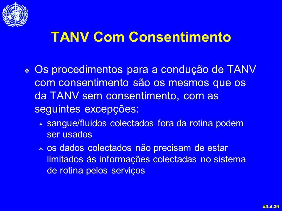 TANV Com Consentimento  Os procedimentos para a condução de TANV com consentimento são os mesmos que os da TANV sem consentimento, com as seguintes e