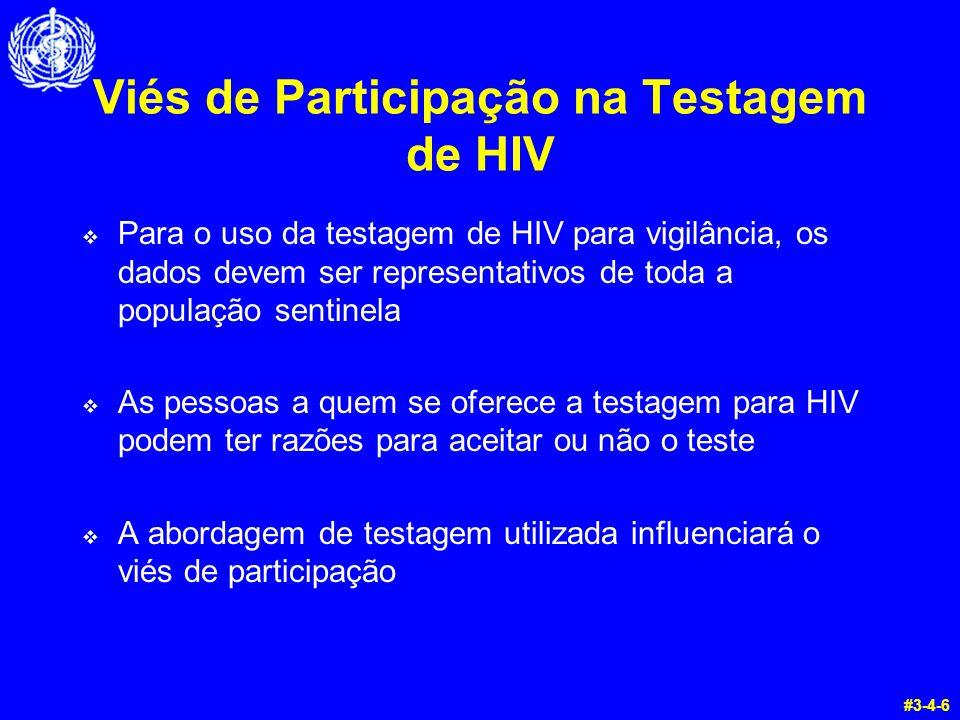Viés de Participação na Testagem de HIV  Para o uso da testagem de HIV para vigilância, os dados devem ser representativos de toda a população sentin