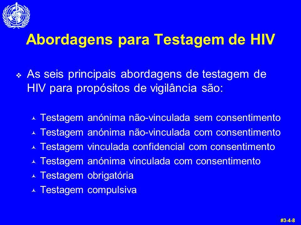 Abordagens para Testagem de HIV  As seis principais abordagens de testagem de HIV para propósitos de vigilância são: © Testagem anónima não-vinculada
