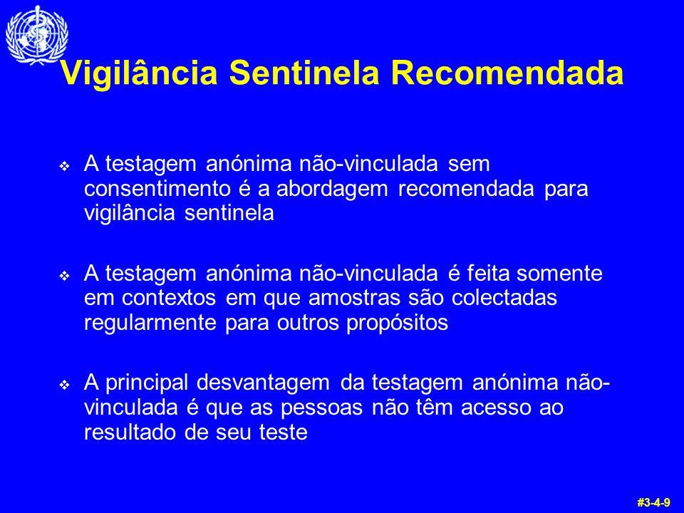Vigilância Sentinela Recomendada  A testagem anónima não-vinculada sem consentimento é a abordagem recomendada para vigilância sentinela  A testagem