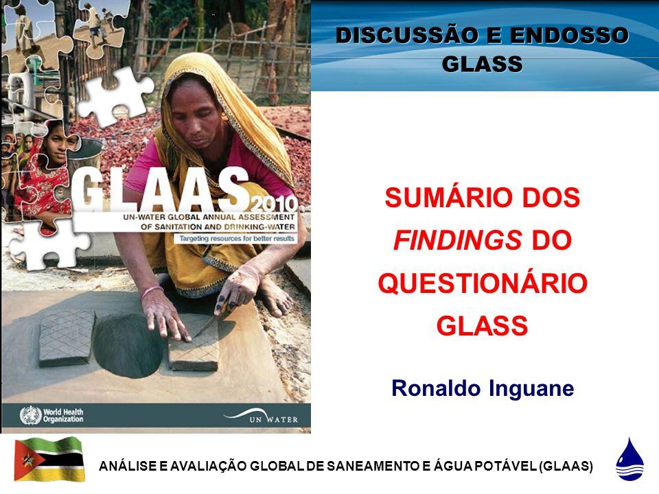 1 |1 | DISCUSSÃO E ENDOSSO GLASS SUMÁRIO DOS FINDINGS DO QUESTIONÁRIO GLASS Ronaldo Inguane ANÁLISE E AVALIAÇÃO GLOBAL DE SANEAMENTO E ÁGUA POTÁVEL (GLAAS)