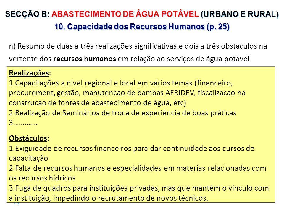 19 | SECÇÃO B: ABASTECIMENTO DE ÁGUA POTÁVEL (URBANO E RURAL) 10.