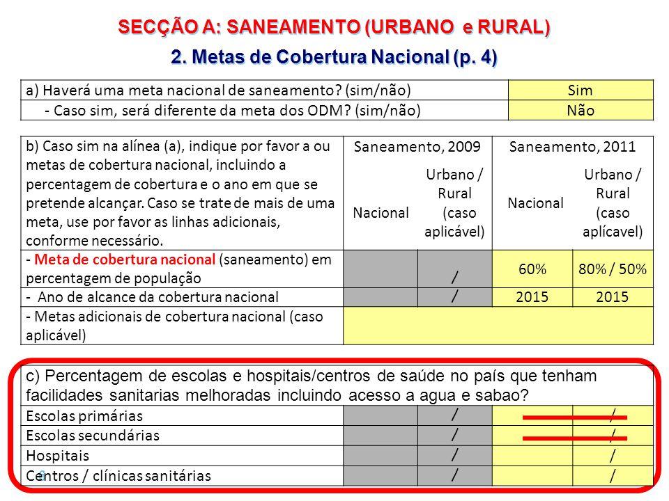 6 |6 | SECÇÃO A: SANEAMENTO (URBANO e RURAL) 2. Metas de Cobertura Nacional (p.
