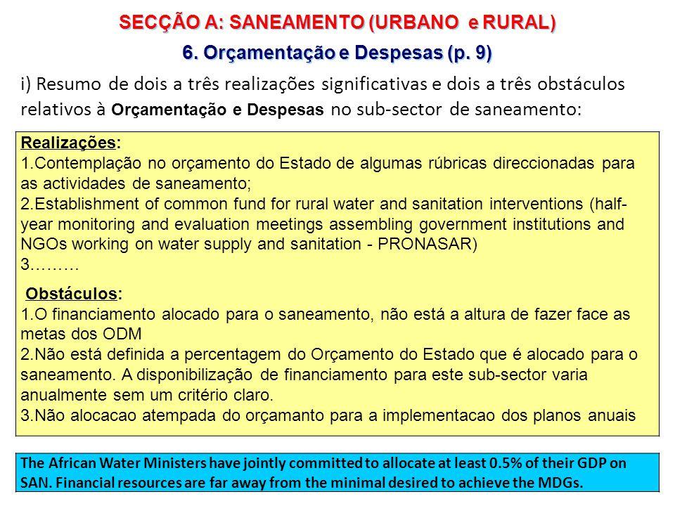 10 | SECÇÃO A: SANEAMENTO (URBANO e RURAL) 7.Participação e Equidade (p.