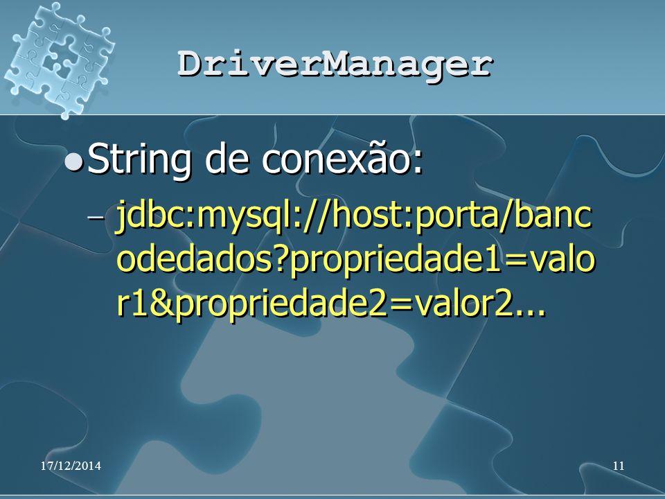 17/12/201411 DriverManager String de conexão: ̶ jdbc:mysql://host:porta/banc odedados?propriedade1=valo r1&propriedade2=valor2... String de conexão: ̶
