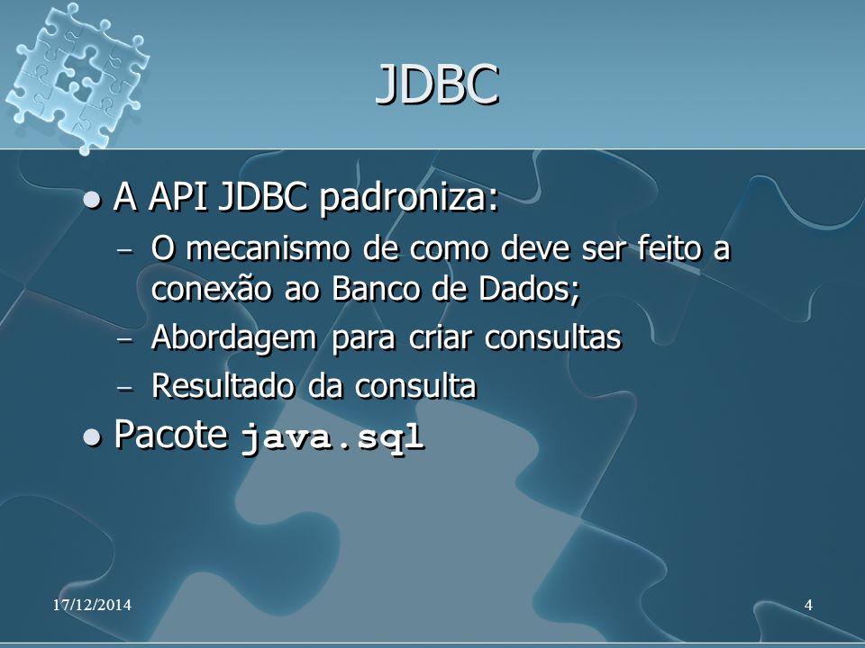 17/12/201435 Aplicação Java import java.sql.*; public class ExemploJdbc { public static final String URL = jdbc:mysql://localhost:3306/BdTeste ; public static final String DRIVER_NAME = com.mysql.jdbc.Driver ; public static final String USER = root ; public static final String PASSWD = ; import java.sql.*; public class ExemploJdbc { public static final String URL = jdbc:mysql://localhost:3306/BdTeste ; public static final String DRIVER_NAME = com.mysql.jdbc.Driver ; public static final String USER = root ; public static final String PASSWD = ;