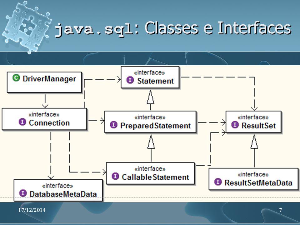 17/12/201438 Atualizando o BD Utiliza-se o método executeUpdate() quando se deseja inserir, alterar ou excluir registros try { Statement stmt = conexao.createStatement(); String sqlString= DELETE FROM TABELA stmt.executeUpdate(sqlString); } catch (SQLException e) {...} Utiliza-se o método executeUpdate() quando se deseja inserir, alterar ou excluir registros try { Statement stmt = conexao.createStatement(); String sqlString= DELETE FROM TABELA stmt.executeUpdate(sqlString); } catch (SQLException e) {...}