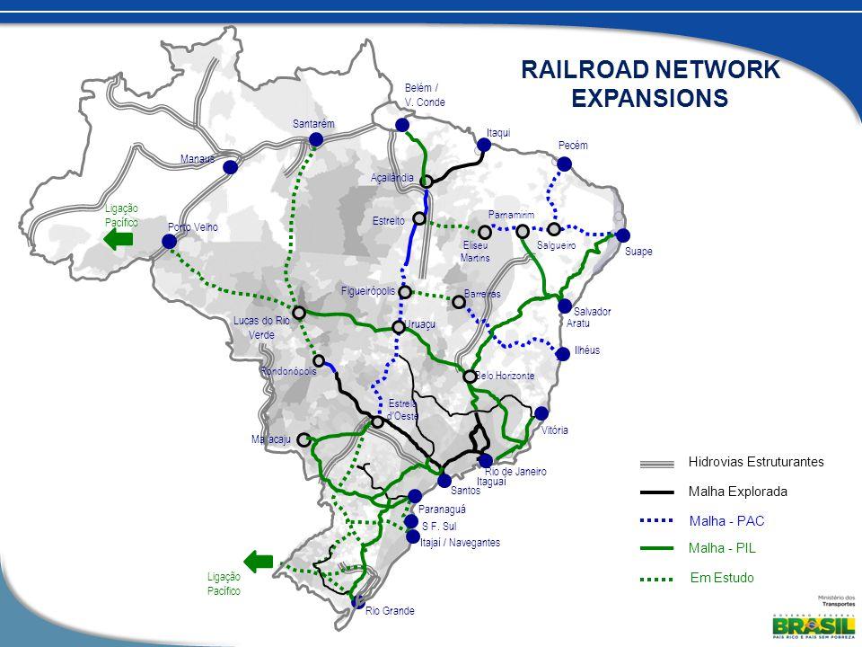 Ligação Pacífico Ligação Pacífico Malha - PAC Em Estudo Malha Explorada Santarém Manaus Porto Velho Belém / V.