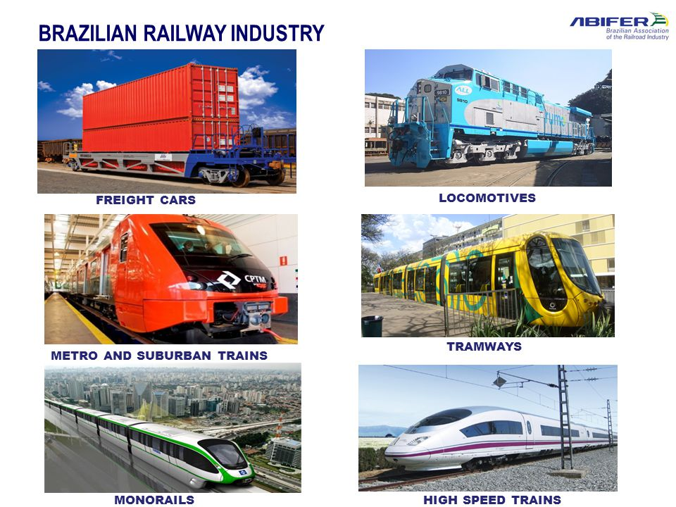 BRAZILIAN RAILWAY INDUSTRY FREIGHT CARS LOCOMOTIVES TRAMWAYS METRO AND SUBURBAN TRAINS MONORAILSHIGH SPEED TRAINS