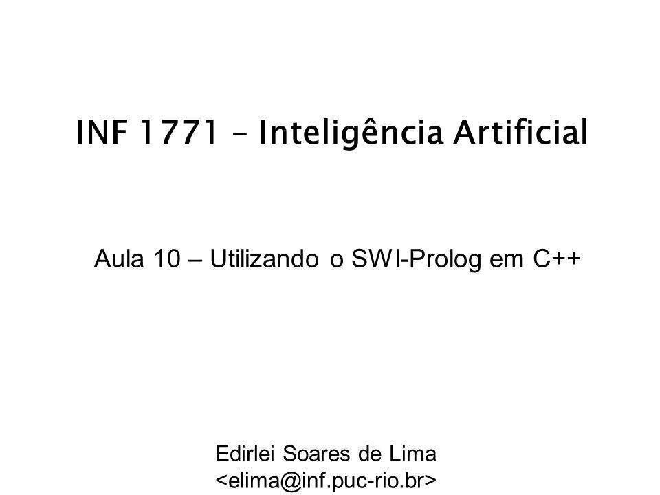 INF 1771 – Inteligência Artificial Aula 10 – Utilizando o SWI-Prolog em C++ Edirlei Soares de Lima