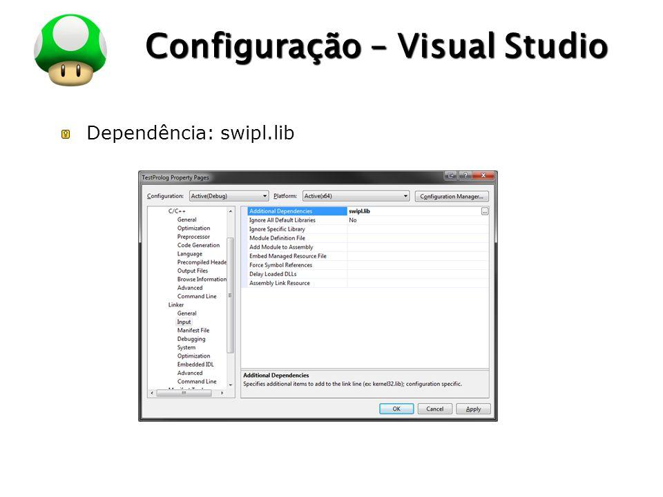 LOGO Configuração – Visual Studio Dependência: swipl.lib