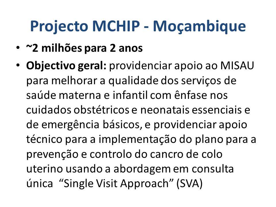 Projecto MCHIP – Moçambique Objectivos Específicos Fortalecer os cuidados obstétricos e neonatais essenciais e de emergência básicos (COEBs e CERNs), de modo integrado, em US seleccionadas, em todas as Províncias (3US/prov – maternidades modelo).