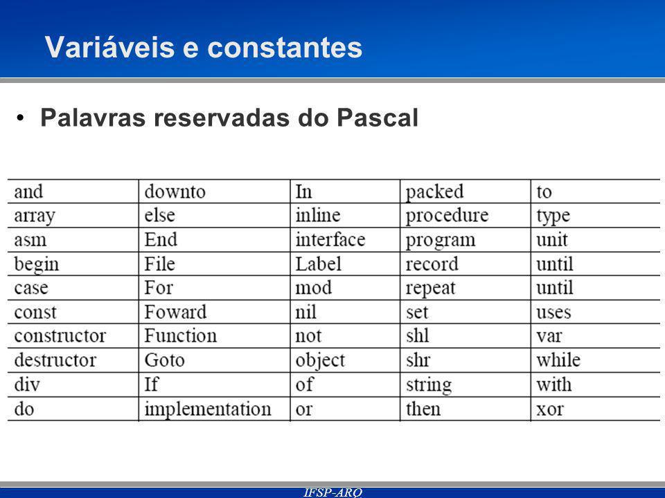 IFSP-ARQ Variáveis e constantes Palavras reservadas do Pascal