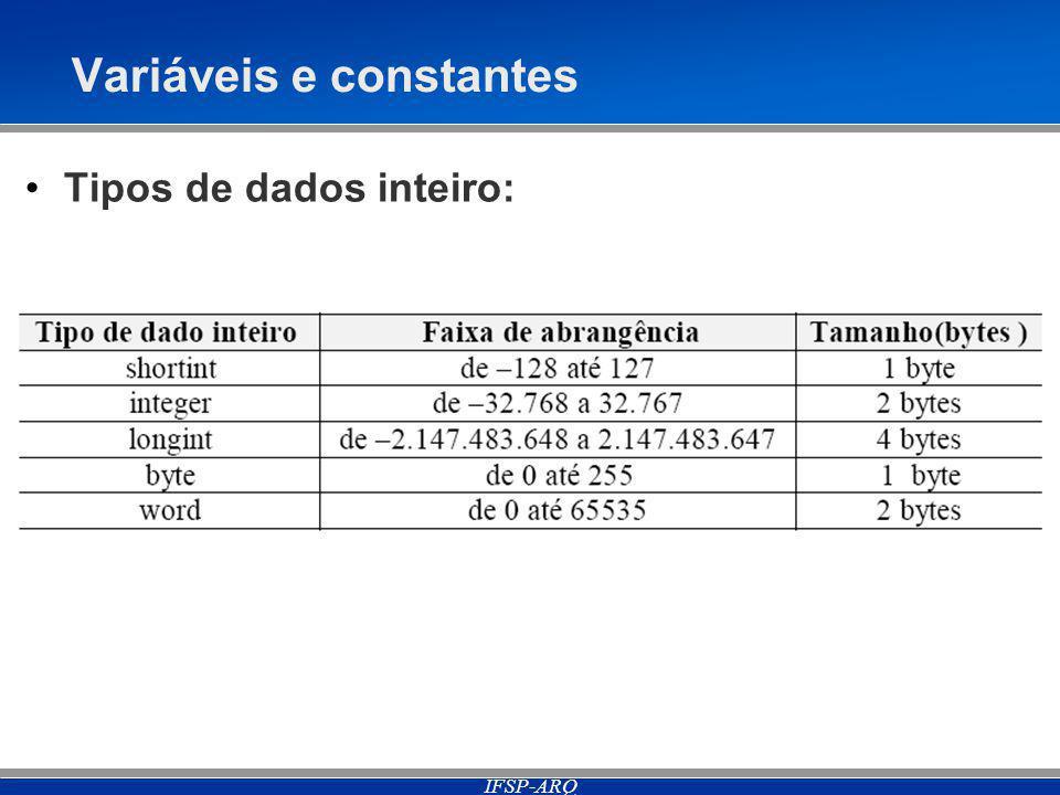 IFSP-ARQ Variáveis e constantes Tipos de dados inteiro: