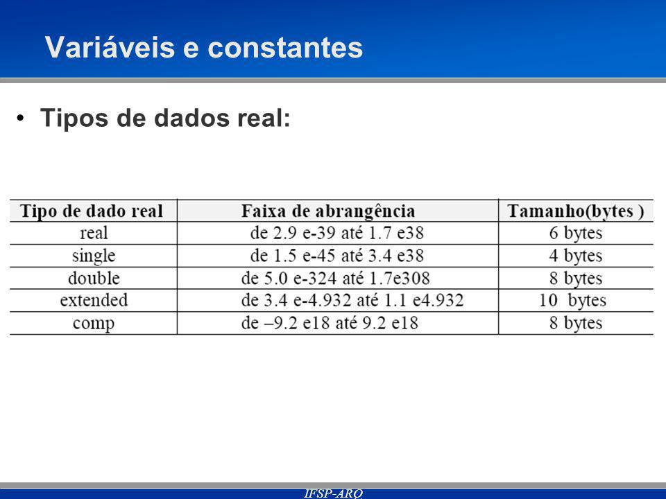 IFSP-ARQ Variáveis e constantes Tipos de dados real:
