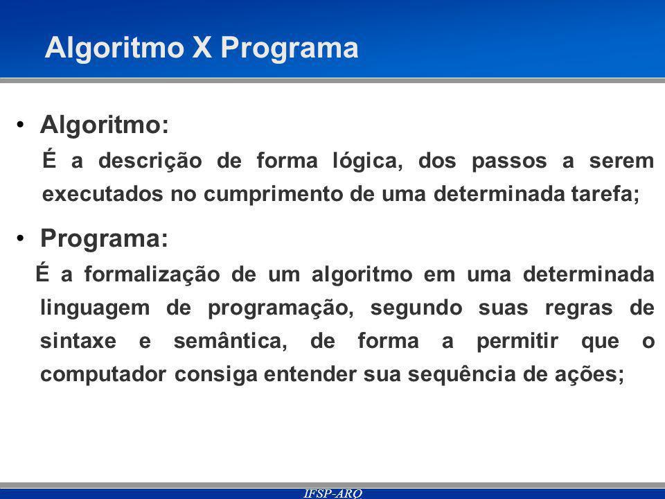 IFSP-ARQ Algoritmo X Programa Algoritmo: É a descrição de forma lógica, dos passos a serem executados no cumprimento de uma determinada tarefa; Programa: É a formalização de um algoritmo em uma determinada linguagem de programação, segundo suas regras de sintaxe e semântica, de forma a permitir que o computador consiga entender sua sequência de ações;