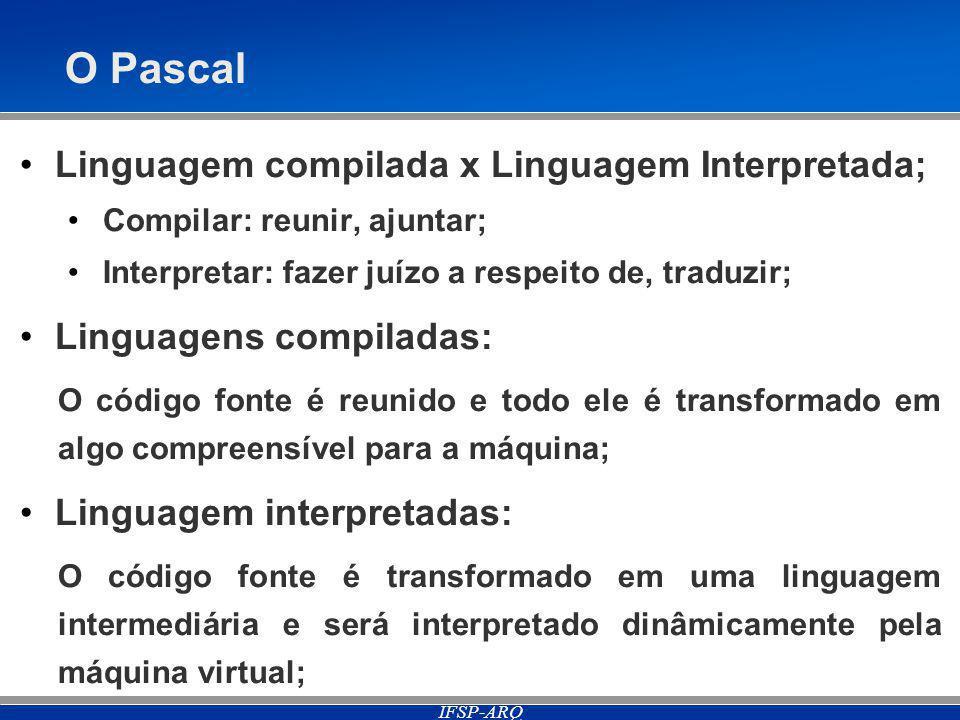 IFSP-ARQ O Pascal Linguagem compilada x Linguagem Interpretada; Compilar: reunir, ajuntar; Interpretar: fazer juízo a respeito de, traduzir; Linguagens compiladas: O código fonte é reunido e todo ele é transformado em algo compreensível para a máquina; Linguagem interpretadas: O código fonte é transformado em uma linguagem intermediária e será interpretado dinâmicamente pela máquina virtual;