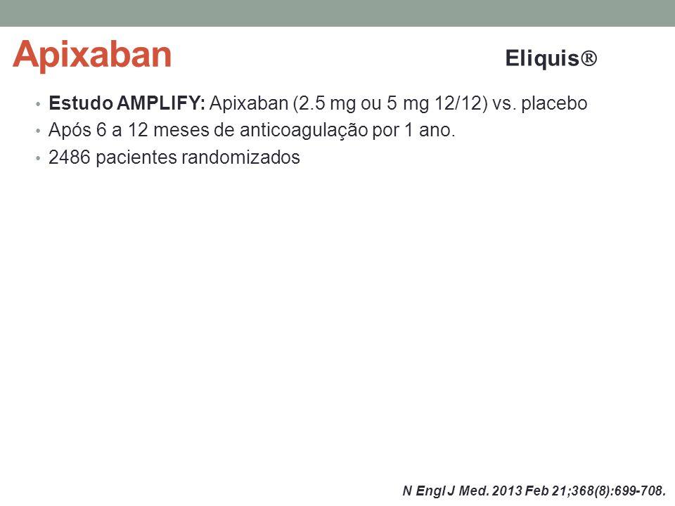 Apixaban Estudo AMPLIFY: Apixaban (2.5 mg ou 5 mg 12/12) vs.