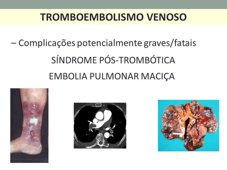 SÍNDROME PÓS-TROMBÓTICA EMBOLIA PULMONAR MACIÇA TROMBOEMBOLISMO VENOSO – Complicações potencialmente graves/fatais
