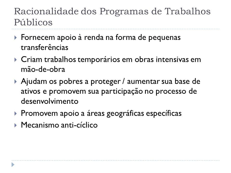 Racionalidade dos Programas de Trabalhos Públicos  Fornecem apoio à renda na forma de pequenas transferências  Criam trabalhos temporários em obras