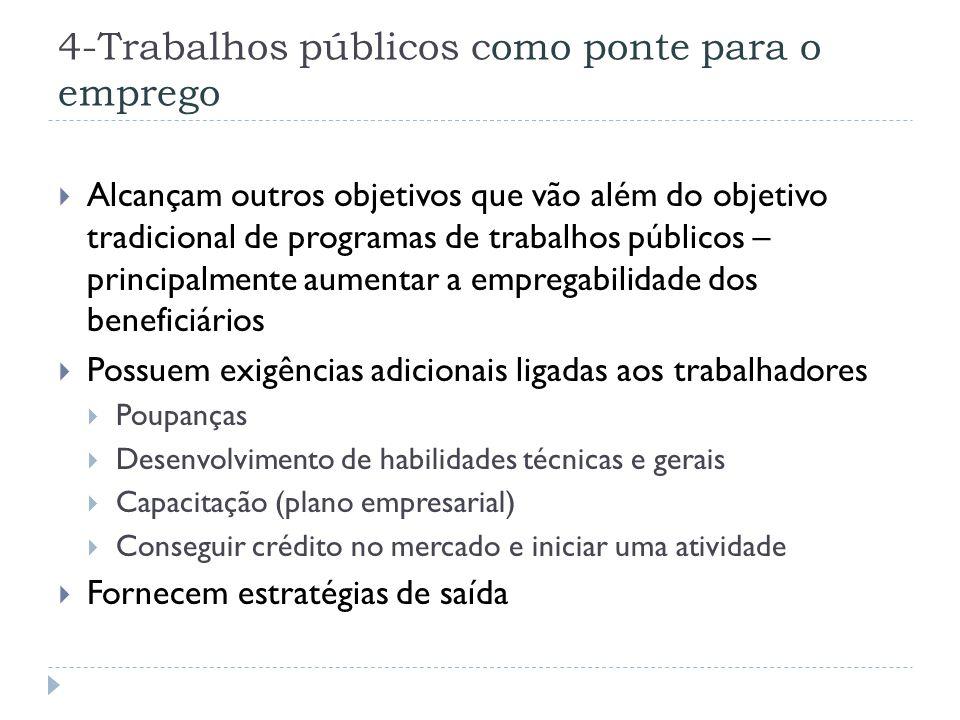4-Trabalhos públicos como ponte para o emprego  Alcançam outros objetivos que vão além do objetivo tradicional de programas de trabalhos públicos – p