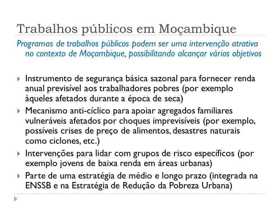Trabalhos públicos em Moçambique Programas de trabalhos públicos podem ser uma intervenção atrativa no contexto de Moçambique, possibilitando alcançar