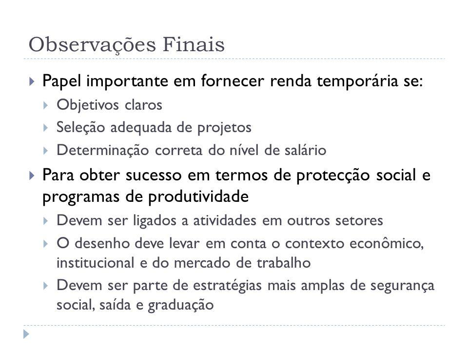 Observações Finais  Papel importante em fornecer renda temporária se:  Objetivos claros  Seleção adequada de projetos  Determinação correta do nív