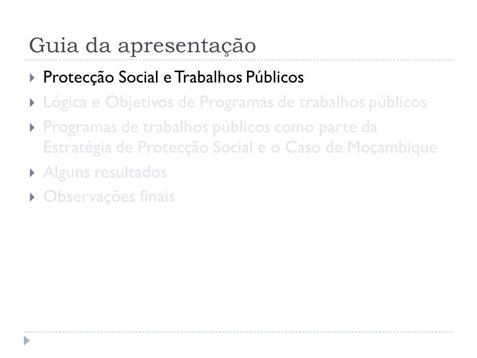 Guia da apresentação  Protecção Social e Trabalhos Públicos  Lógica e Objetivos de Programas de trabalhos públicos  Programas de trabalhos públicos