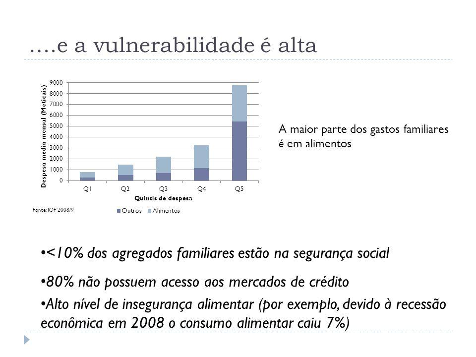 A maior parte dos gastos familiares é em alimentos <10% dos agregados familiares estão na segurança social 80% não possuem acesso aos mercados de créd
