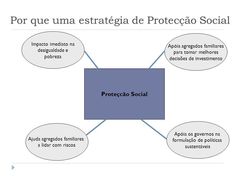 Por que uma estratégia de Protecção Social Proteçcão Social Impacto imediato na desigualdade e pobreza Apóia os governos na formulação de políticas su