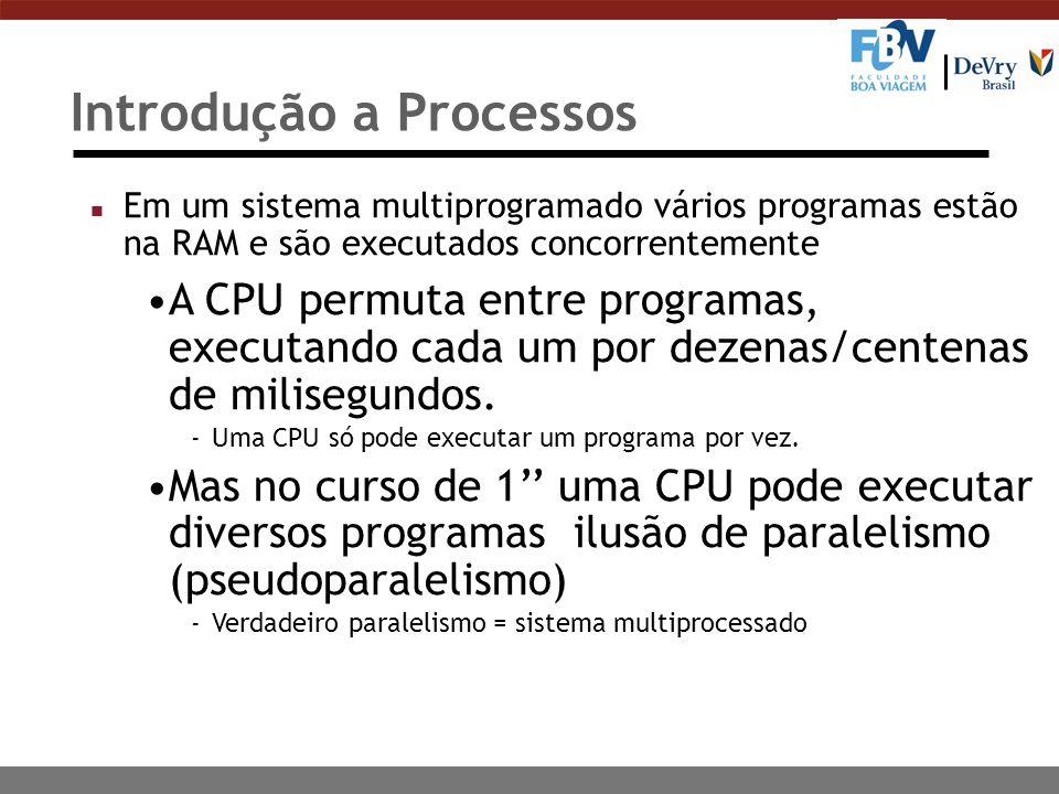 Introdução a Processos n Em um sistema multiprogramado vários programas estão na RAM e são executados concorrentemente A CPU permuta entre programas,