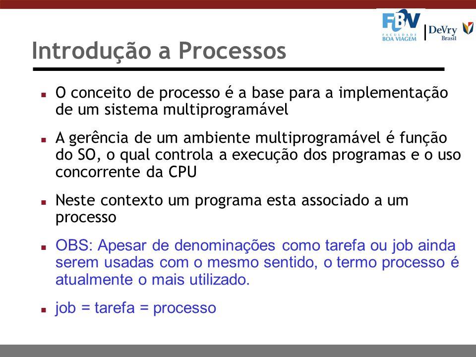 Introdução a Processos n O conceito de processo é a base para a implementação de um sistema multiprogramável n A gerência de um ambiente multiprogramá