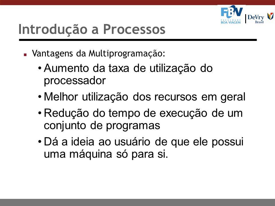 Introdução a Processos n Vantagens da Multiprogramação: Aumento da taxa de utilização do processador Melhor utilização dos recursos em geral Redução d