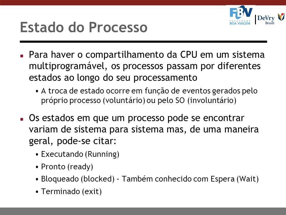 Estado do Processo n Para haver o compartilhamento da CPU em um sistema multiprogramável, os processos passam por diferentes estados ao longo do seu p