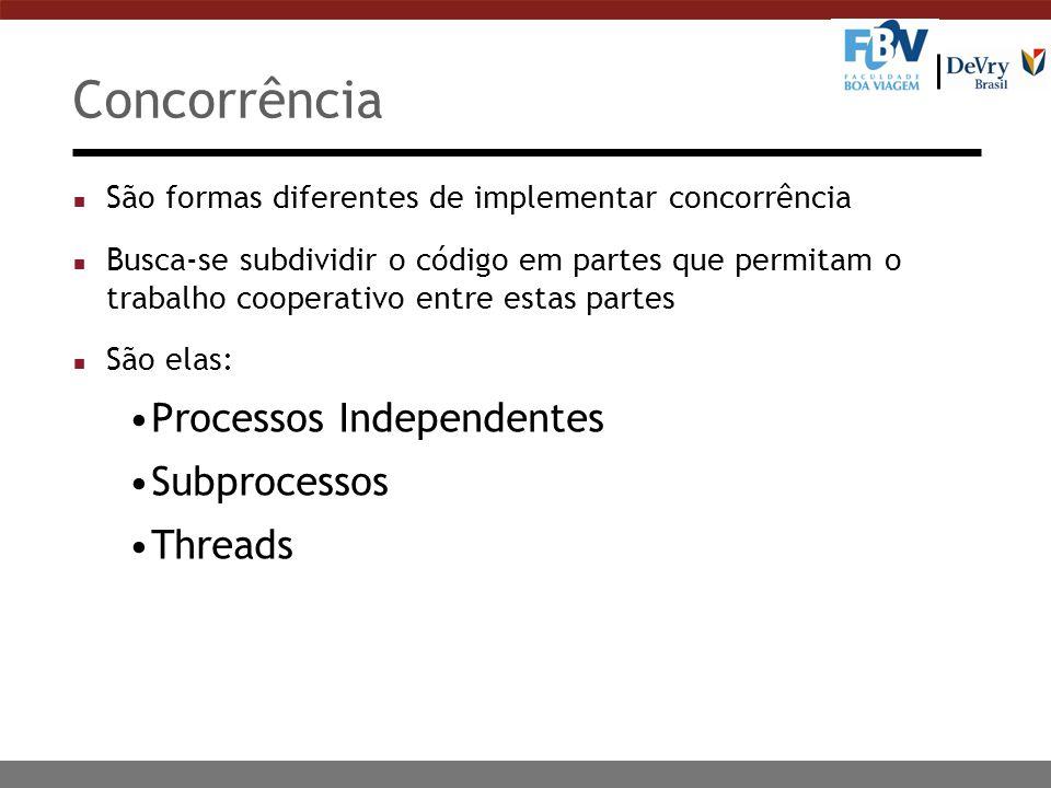 Concorrência n São formas diferentes de implementar concorrência n Busca-se subdividir o código em partes que permitam o trabalho cooperativo entre es