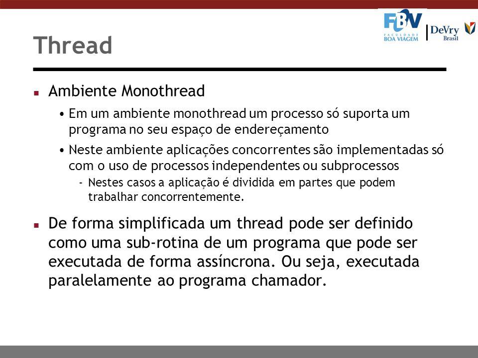 Thread n Ambiente Monothread Em um ambiente monothread um processo só suporta um programa no seu espaço de endereçamento Neste ambiente aplicações con