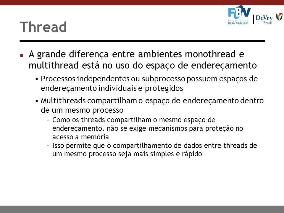 Thread n A grande diferença entre ambientes monothread e multithread está no uso do espaço de endereçamento Processos independentes ou subprocesso pos