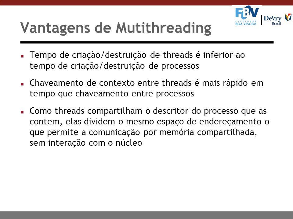 Vantagens de Mutithreading n Tempo de criação/destruição de threads é inferior ao tempo de criação/destruição de processos n Chaveamento de contexto e