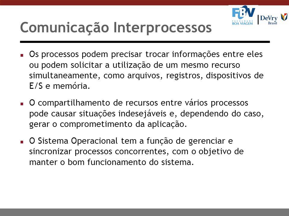 Comunicação Interprocessos n Os processos podem precisar trocar informações entre eles ou podem solicitar a utilização de um mesmo recurso simultaneam