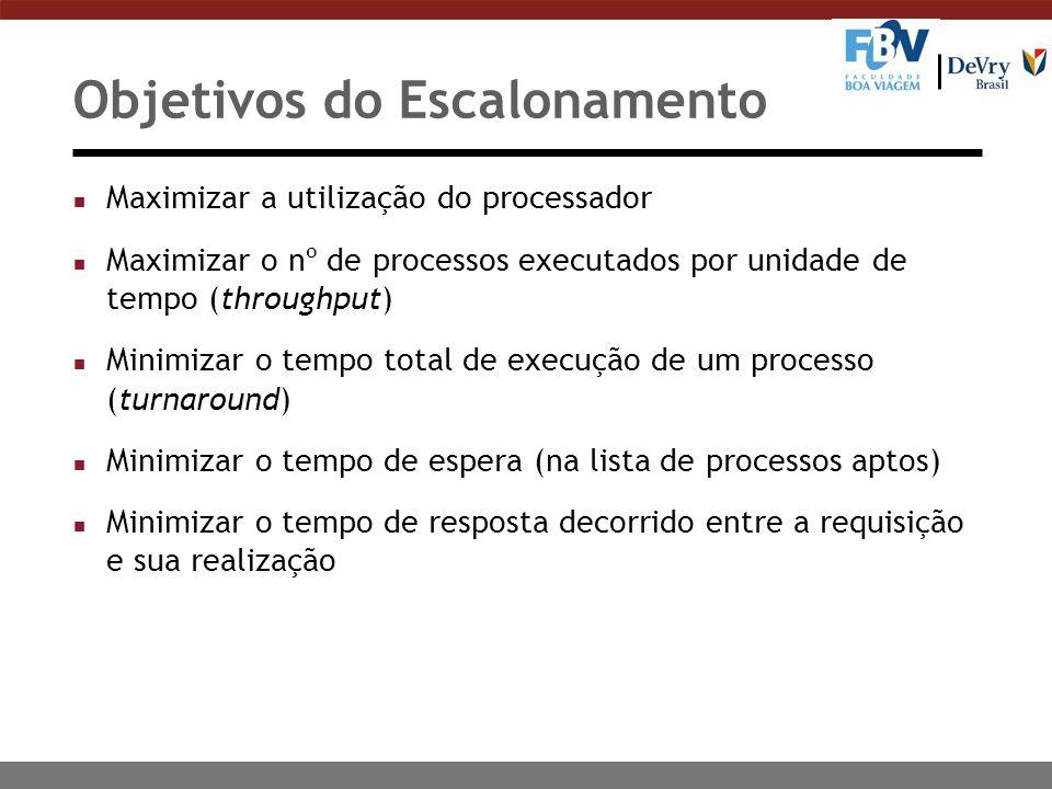 Objetivos do Escalonamento n Maximizar a utilização do processador n Maximizar o nº de processos executados por unidade de tempo (throughput) n Minimi