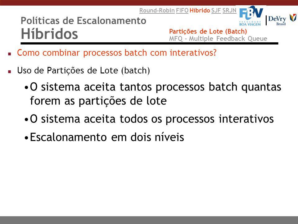 Políticas de Escalonamento Híbridos n Como combinar processos batch com interativos? n Uso de Partições de Lote (batch) O sistema aceita tantos proces